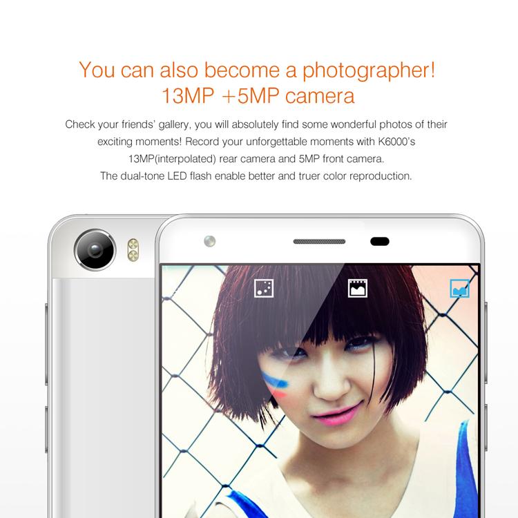 OUKITEL K6000 MTK6735 1.0GHz Quad Core 5.5 Zoll2.5D IPS OGS HD Bildschirm Android 5.1 4G LTE Smartphone